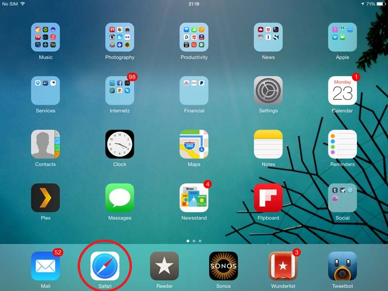 Safari - icon on homescreen