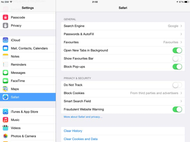 Safari - settings
