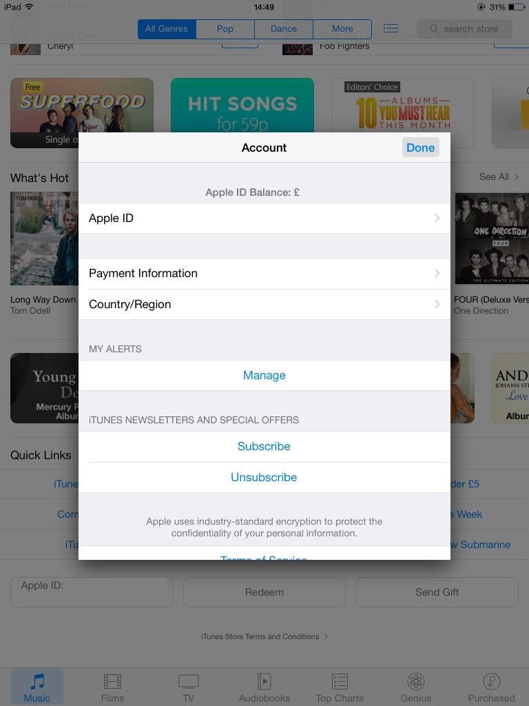 iTunes account details